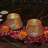 The Purple Tree Metal Votive Tealight Holder, (Pack of 2) , Diwali Candle Holder, tealight Holder, Diwali Gift, Best Gift for Diwali, Christmas Candle Holder, Diwali Decoration