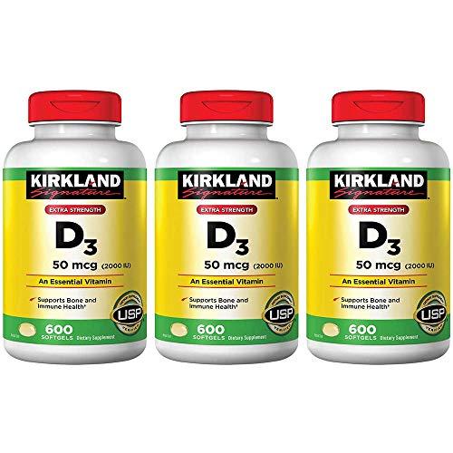Kirkland Signature Vitamina de força máxima D3 2000 I.U. Pacote com 3