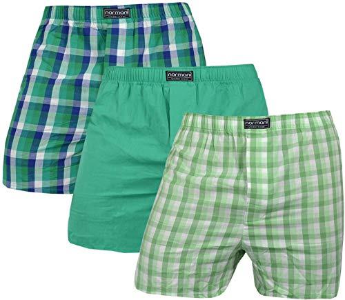 normani 3 x Herren Web Boxershorts aus Reiner Baumwolle Farbe Grün Größe XL
