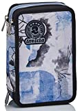 Astuccio 3 Scomparti Invicta , Paint & Flowers, Blu, Completo di matite, penne, pennarelli