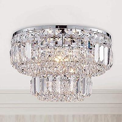 Modern Chrome Crystal Flush Mount Chandelier Lighting LED Ceiling Light Fixture Lamp for Dining Room Bathroom Bedroom Livingroom 4 G9 Bulbs Required D13 inch X H9 inch
