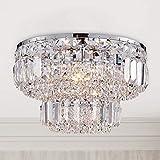 Bestier Moderno cromo cristal empotrado montaje de la lámpara de iluminación LED lámpara de la lámpara de techo para el comedor Cuarto de baño Dormitorio Sala de estar 4 bombillas G9 requeridas