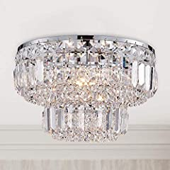 UNIQUE CRYSTAL GLASS DESIGN: Never to chip, fade, or tarnish. This unique style chandelier light features crystal tube is shiny, crystal home decor. Fixture Dimensions: Fixture Diameter 33 cm x Height 24 cm. Working Voltage: 220-240 volts. Bulb Base:...