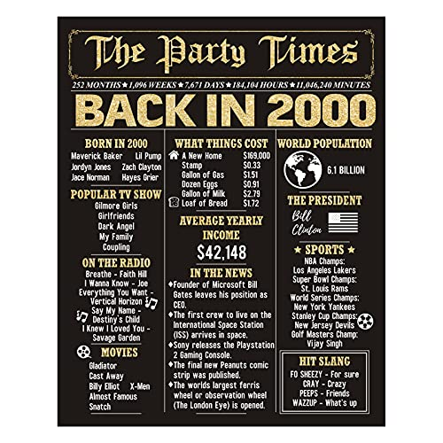 HOMANGA 21th Birthday Decorations for Men or Women, 21th Birthday Anniversary Poster for Him or Her, Turning 21 Years Old Gift for Women or Men, Back in 2000 Black Gold Print (8 x 10 Inch, Unframed)