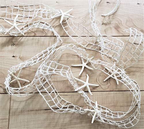 Beach Decor Starfish Christmas Garland, IVORY Nautical Decor White Starfish Christmas Garland, IVORY Nautical Netting Garland, 10 FEET
