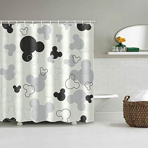zhanghui2018 Cortina de Ducha Impermeable en Tela de poliéster con Estampado de Mickey Mouse Cortina de baño Lavable Dibujos Animados Home Girl Baño Decoración Cortinas (1)