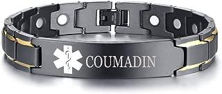 Free Custom Engraved Stainless Steel Magnet Therapy Medical Alert ID Bracelet for Men,Adjustable