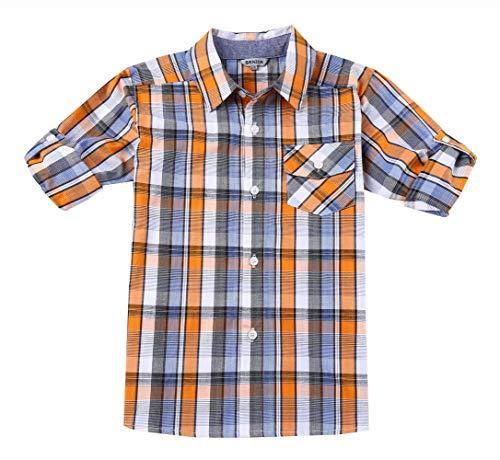 Bienzoe Jungen Baumwolle Plaid Aufrollen Hemd Orange/Marine Größe 11/12