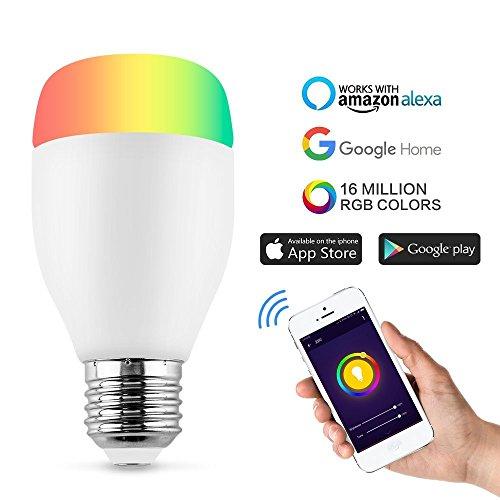 Horsky - Bombilla multicolor, bombilla wifi inteligente, regulable con mando a distancia, RGB, casquillo E27,LED, compatible con Amazon Elexa, Amazon Echo y Google Home, Wifi Lampe led RGB E27