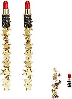 77b9cdb22 Eiffy Lovely Sexy Red Lipstick Pin Earrings for Women Long Star Tassel  Fringe Drop Dangle Earring