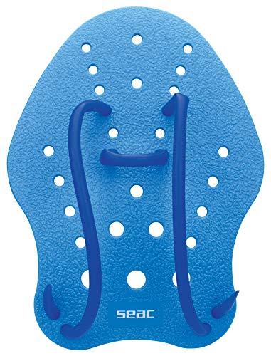 Seac Unisex– Erwachsene Hand Paddle Paddel für das Schwimmtraining im Pool und im Freiwasser, Blau, S