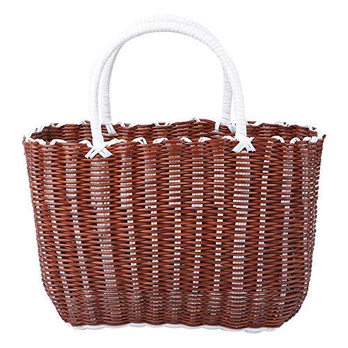 YARNOW 1 Pack Kunststoffkorb Gewebter Aufbewahrungskorb Tragbarer Einkaufskorb Home Basket (Gelb)