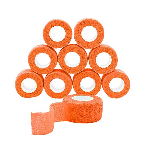GooGou Self Adhesive Bandage Finger Tape Rolls Non-Woven Ventilate Flexible Wrap for Sprain Swelling and Soreness on Wrist and Ankle 10PCS 1 in X 14.7 ft (Orange)