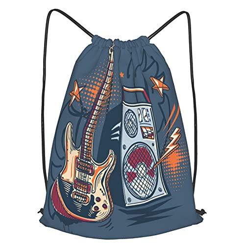 huagu Mochila Con Cordones Unisex,Diseño musical dibujado guitarra eléctrica y amplificador,Bolso con...
