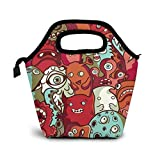 Yanyisisx Monster Alien Pattern Vector Illustration Lunch Bag Food Container Gourmet Tote Cooler Warm Pouch for School Work Office