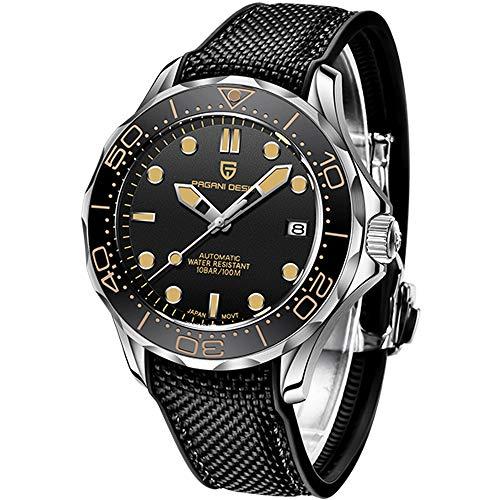 Pagani Design Original Seamaster Reloj para Hombre, Pulsera de Acero Inoxidable con Corona de Rosca y Resistente al Agua hasta 100 m. NH35 Bisel de cerámica Giratorio con Movimiento mecánico