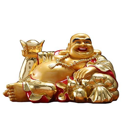 Afortunado Estatua Sosteniendo el lingot gran vientre Buda feliz risa buda decoración mejor feng shui regalo hogar afortunado decoraciones exquisitas resina estatuas de buddha Decoración Feng Shui