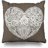 Cojines de sofá Patrón de hobby Formas de corazones Floral Amor por la forma Día de San Valentín Vacaciones de boda Encaje Crochet Sofá blanco Fundas de cojín cuadrado Fundas de almohada 45X45CM
