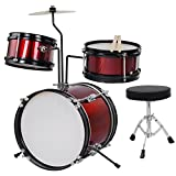 AW 3pcs Junior Kids Child Drum Set Kit Sticks Throne Cymbal Bass Snare Boy Girl Red