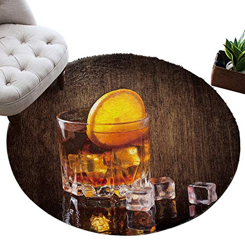 Alfombra redonda para copa de vino, suave, cómoda, con forma de cubito de hielo de limón, alfombra mullida, alfombra de suelo para sala de estar, dormitorio, cuarto de guardería, 3 pies