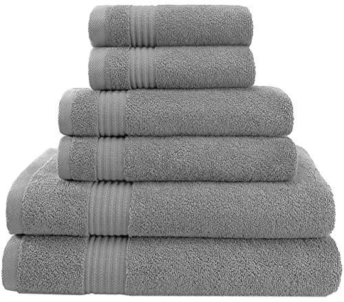 Juego de toallas turcas de algodón de 6 piezas para máxima suavidad y absorción por American Veteran Towel (gris claro, juego de toallas – 6 unidades)