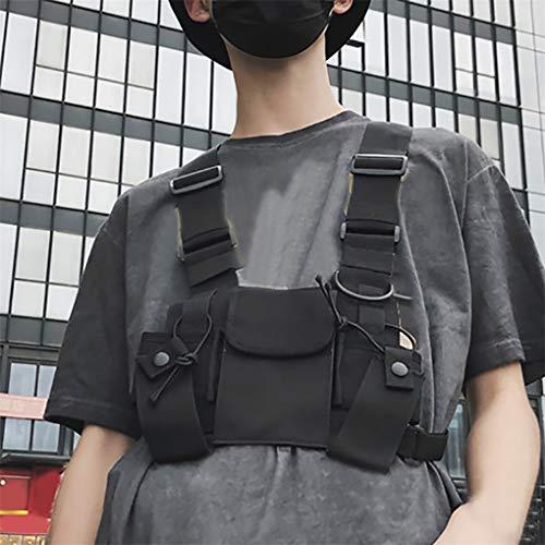 CAVIVI Men Tactical Vest Umhängetaschen Chest Rig Bag Hip Hop Verstellbare Taschen Cross Shoulder Bag Funktionelle Hüfttaschen,schwarz
