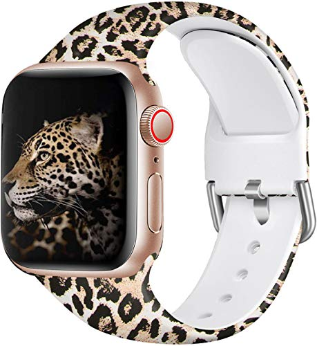 Wepro Floral Bands Compatible with Apple Watch 40mm 38mm Women, Fadeless Pattern Printed Soft Silicone Wrist Band Replacement for iWatch Series 5,4,3,2,1, 38mm/40mm-S/M, Leopard