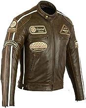 Jet Blouson Veste Moto Cuir Homme Vintage avec Protection Homologu/é Classique R/étro Biker Iconique Capuche d/étachable Bronx Noir, L