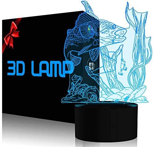 Lámpara LED de ilusión 3D con luz nocturna de peces y interruptor táctil, alimentado por USB, lámpara de escritorio para niños, regalos para el hogar
