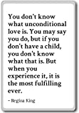 Imán para nevera con frases en inglés «You Don't King» «You Don't know What Unconditional love is», «Regina King», Blanco