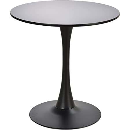 Table ronde tulipe design Ø 70 x 75H cm métal MDF noir