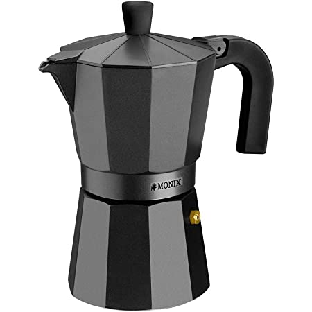 Monix Vitro Noir – Cafetera Italiana de Aluminio, Capacidad 12 Tazas, Apta para Todo Tipo de cocinas Salvo inducción (Braisogona_M640012)
