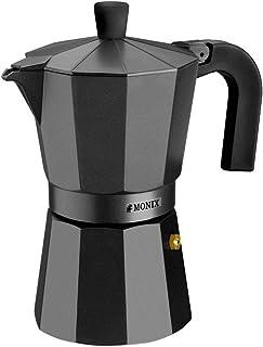 Monix Vitro Noir – Cafetera Italiana de Aluminio, Capacidad 12 Tazas, Apta para Todo Tipo de cocinas Salvo inducción (Brai...