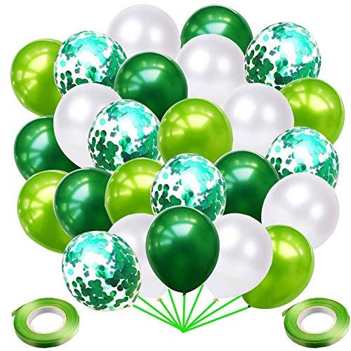 Grüne Luftballons Konfetti Ballons, 72 Stück Luftballons Grün Weiß Ballons Helium Luftballons für Kindergeburtstag Babyparty Junge Kinder Dschungel Geburtstag Partydeko Geburtstagsdeko