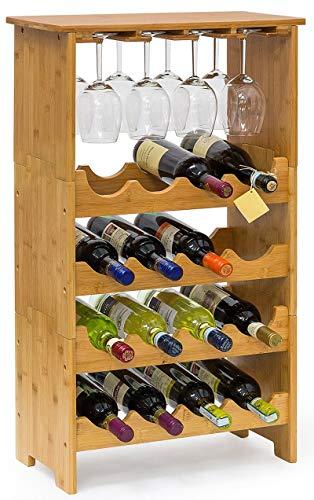 Mobile porta bottiglie bicchieri cantinetta vino in legno di bambù naturale chiaro 16 posti con porta bicchieri e ripiano per enoteca cantina salotto portabottiglie porta flute calice ballon
