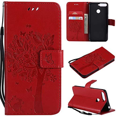 BoxTii® Coque Huawei Y6 2018, Huawei Y6 2018 Magnetic Housse Coque, Etui de Téléphone en TPU Silicone pour Huawei Y6 2018 (#6 Rouge)