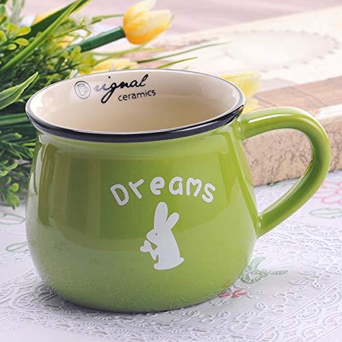Heliansheng Moda Retro Taza de cerámica Creativa Taza de Agua Leche Taza de Desayuno Taza de café Taza-Verde-Medio