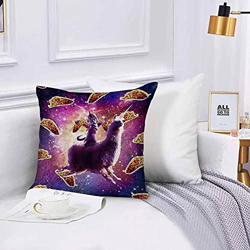 Funda de algodón 45 x 45 cm Cat Ride Llama con Taco en Galaxy Sofá Throw Cojín Almohada Caso de la Cubierta para Sala de Estar 45x45cm