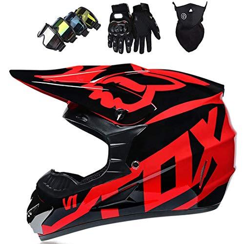Casco de motocross para niños con gafas/guantes/máscara, Cascos bici suciedad para adultos, Casco MTB cara completa para motocicleta, todoterreno, choque con diseño de Fox, Certificación DOT