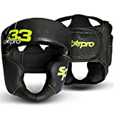 StarPro - Casco de Boxeo para Muay Thai MMA, XL, Negro