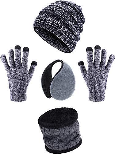 4 Stücke Ski Warm Set mit Winter Mütze Kreis Schal Draussen Handschuhe und Ohrwärmer für Erwachsene Kinder (A)