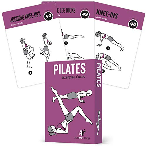 Pilates Exercise Cards, Set of 62 for Women and Men - for Home, Gym or Studio :: 50 Mat Exercises, 12 Stretches, 6 Total Workout Routines for Beginner to Advanced :: X Large, Waterproof & Durable