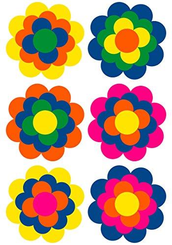 6 Prilblumen Aufkleber 95 mm, Retro Style 70er Jahre Kult, Wandsticker