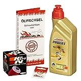 Castrol 10W-40 Öl + K&N Ölfilter für Yamaha YZF-R 125 /WGP, 08-15, RE06 RE11 - Ölwechselset inkl. Motoröl, Filter, Dichtring