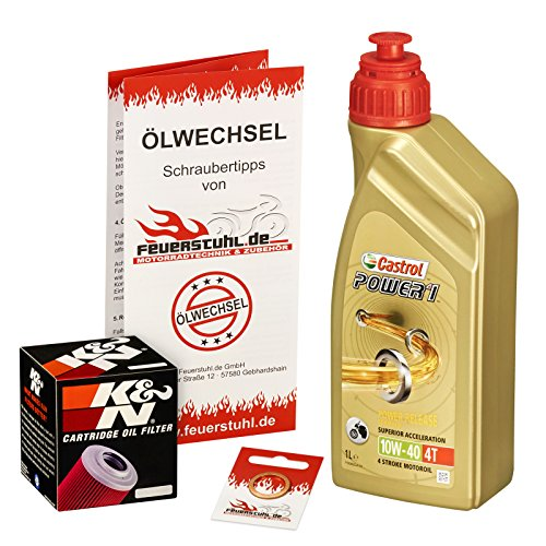 Castrol 10W-40 Öl + K&N Ölfilter für Yamaha MT 125, 14-15, RE11 - Ölwechselset inkl. Motoröl, Filter, Dichtring