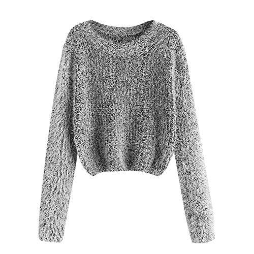 ZAFUL Women's Fuzzy Fluffy Long Sleeve Heathered Knit Pullover Sweater Jumper (D-Black)