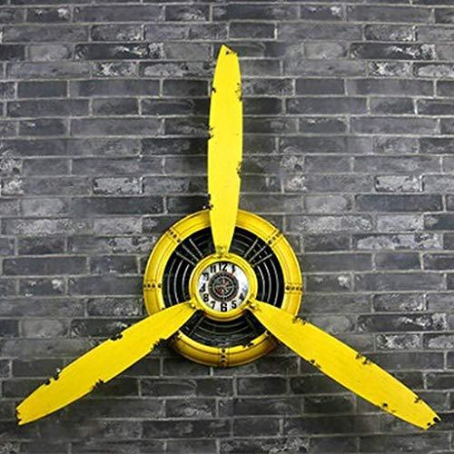 Willsego Reloj de Pared de decoración Hélice de avión Loft Estilo Industrial Retro Hierro Amarillo Colgante de Pared Decoraciones de Pared Colgante Decoración de Pared L * W * H 67 * 7 * 53cm