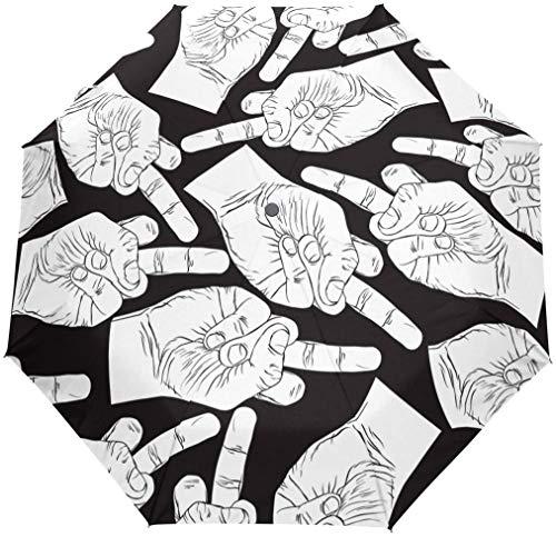 Regenschirm mit Cartoon-Mittelfinger, 3 Falten, automatisches Öffnen und Schließen, Schwarz