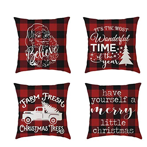 AMhomely Christmas Decorations Sale, 4 Pack Pillow Covers Merry Christmas Decorative Couch Pillow Cases Cotton Linen Merry Christmas Decorative Xmas Decor Ornaments Party Decor Gift