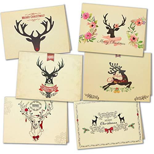 LEHOUR 30 PC Cartoline di Natale allegre Cartoline di Babbo Natale con buste e adesivi per le vacanze natalizie (Renna)